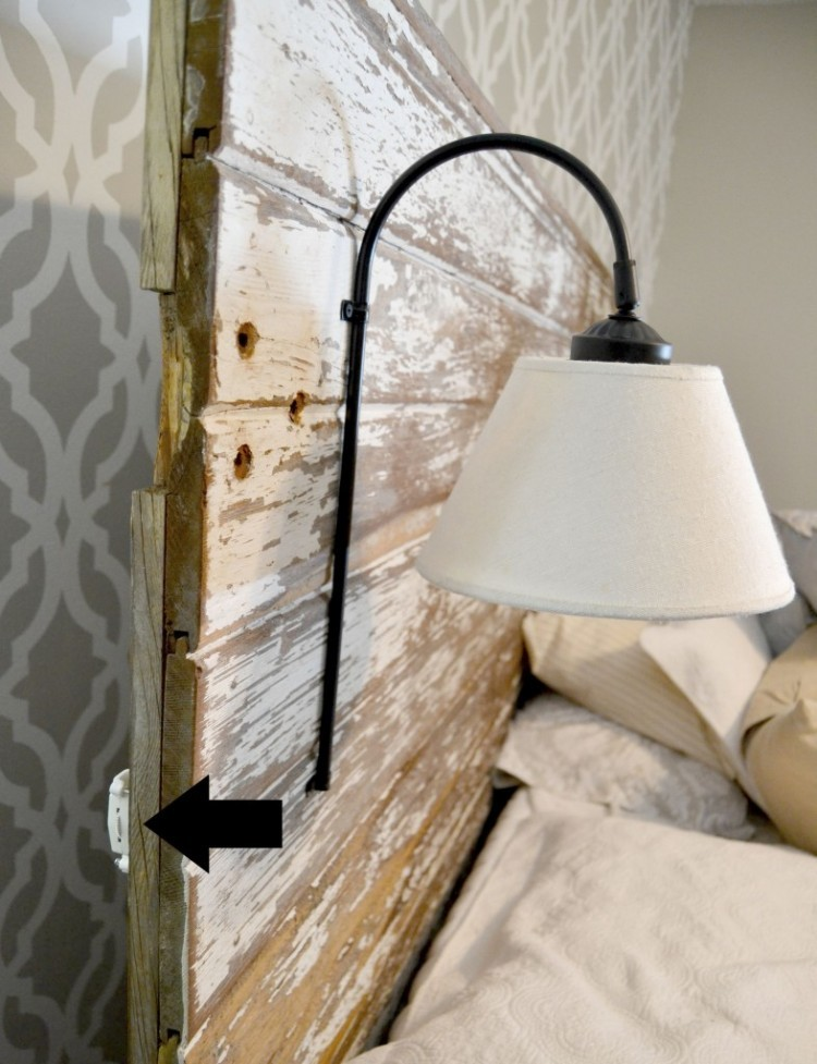 DIY headboard sconce (via shelterness)