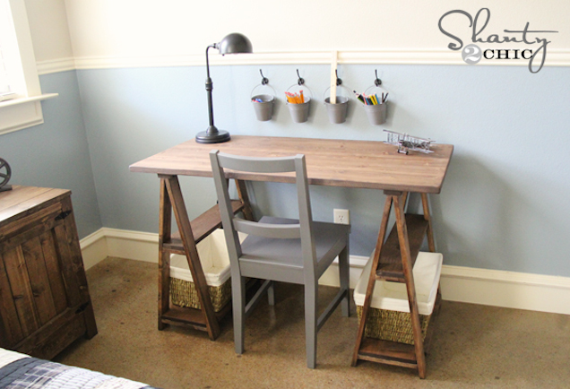 DIY sawhorse desk with storage (via workshop)