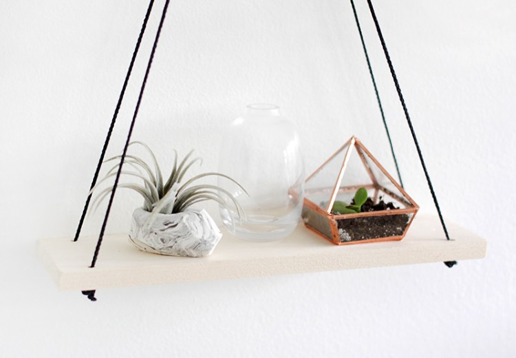 Simple diy shelves hanging from rings shelterness for How to make wall shelves easy
