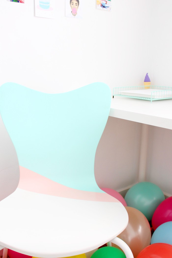 DIY color block chair redo