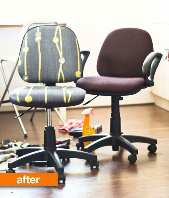 DIY reupholstering an office chair (via apartmenttherapy)