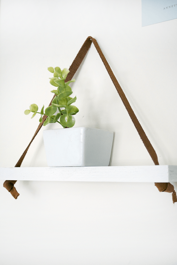Super Easy DIY Leather Hanging Shelf