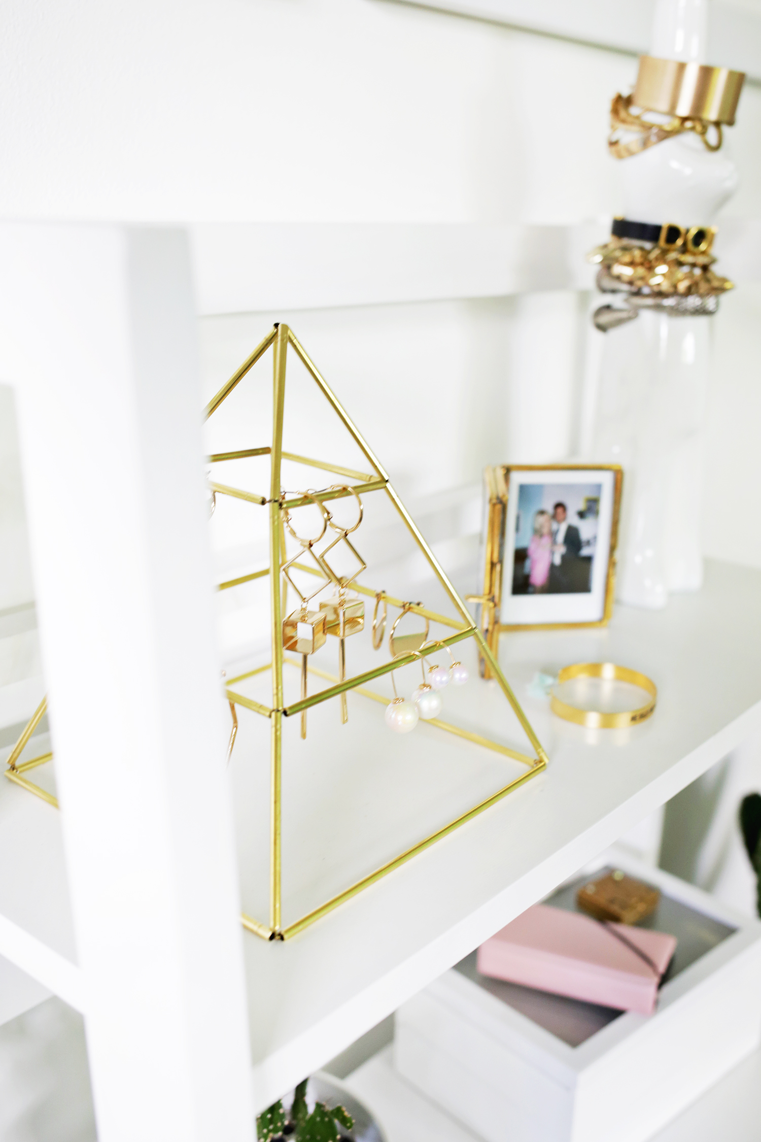 Picture Of trendy and eye catching diy brass earring pyramid  1