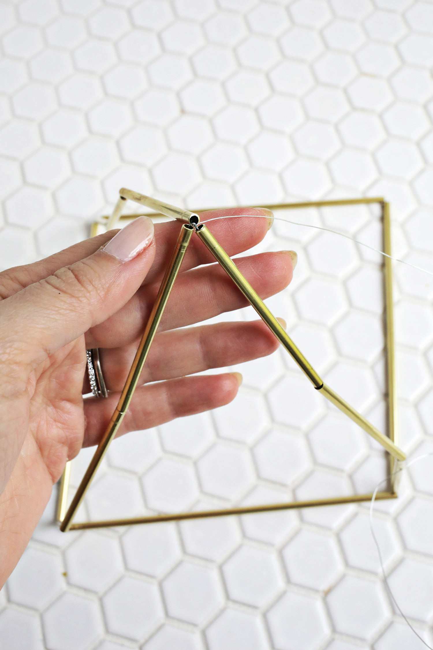 Picture Of trendy and eye catching diy brass earring pyramid  5