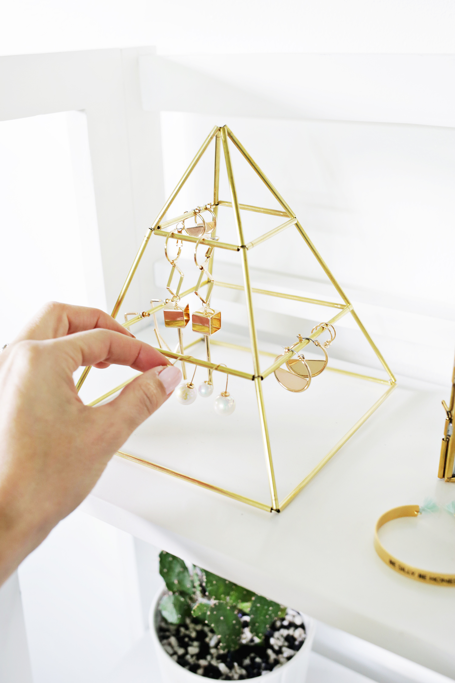 Picture Of trendy and eye catching diy brass earring pyramid  7