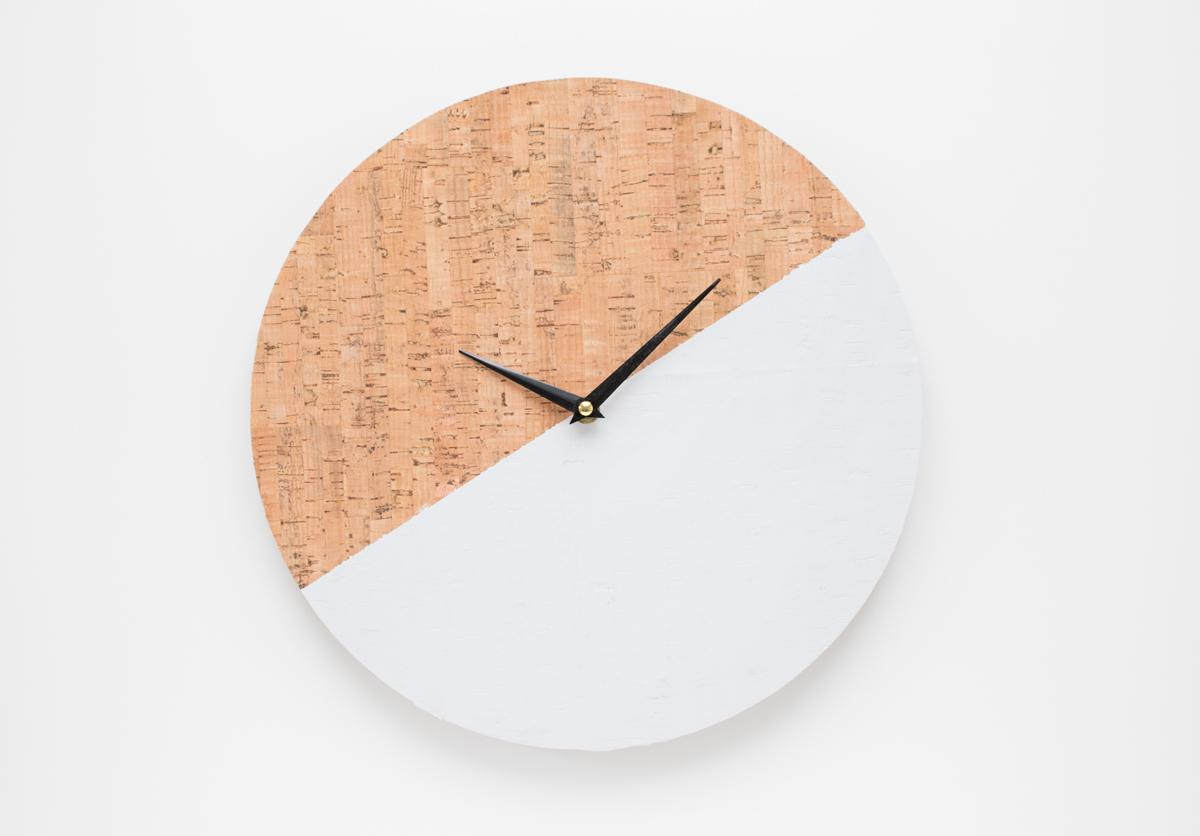 Picture Of trendy diy cork color block clock  1