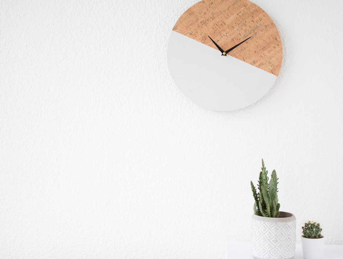 Picture Of trendy diy cork color block clock  3
