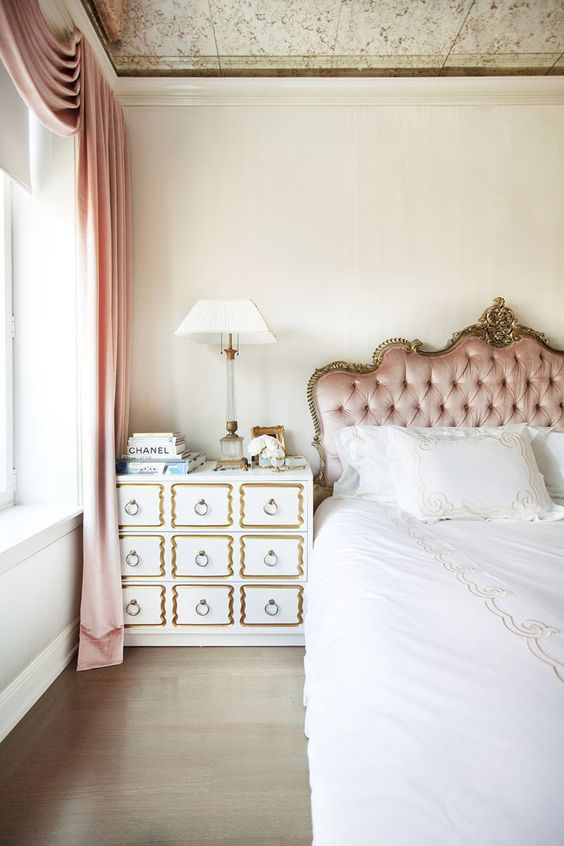 antique frame blush headboard
