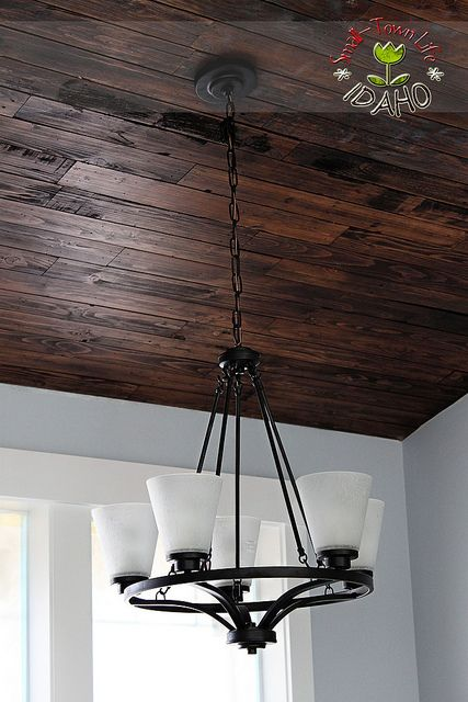 dark barn wood basement ceiling