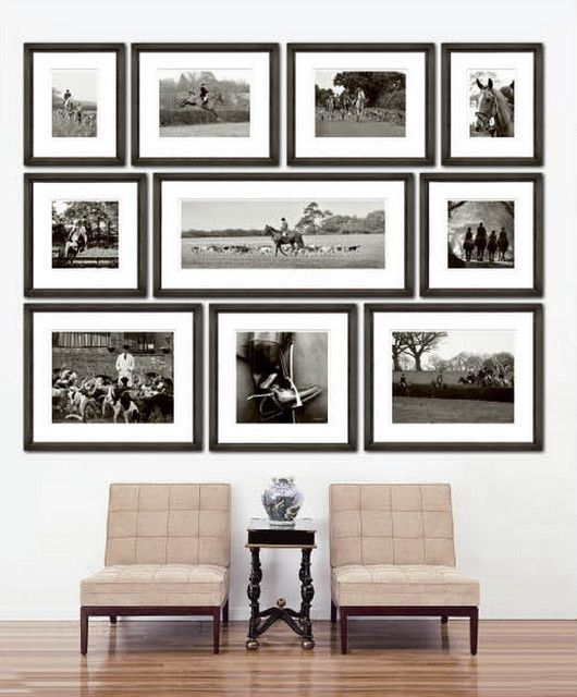 31 modern photo gallery wall ideas shelterness for Wall of framed pictures