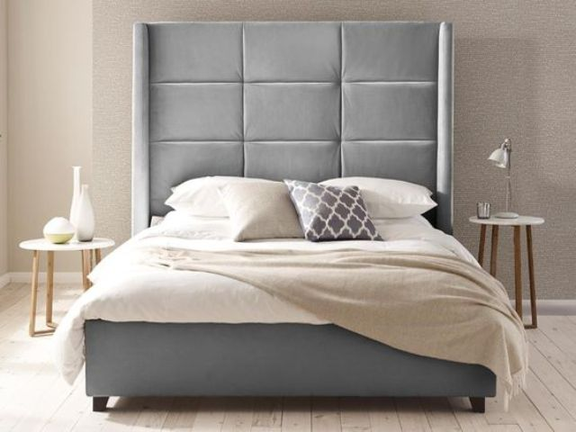 Lovely tall outline wingback upholstered headboard