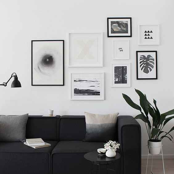 Black and white modern gallery wall