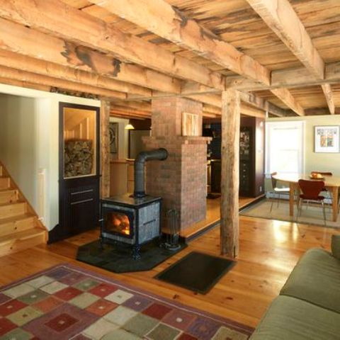 Picture Of Rustic Wood Basement Ceiling