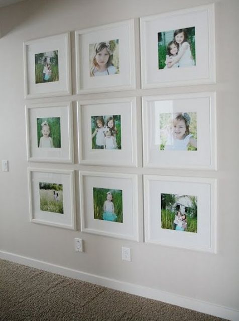 same size white frames for color shots