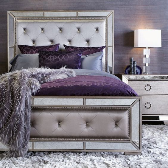 Unique mirror frame metallic tufted headboard