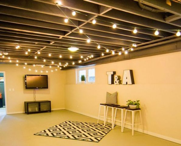 wooden basement ceiling