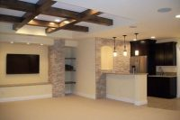 12 white basement ceiling with exposed beams