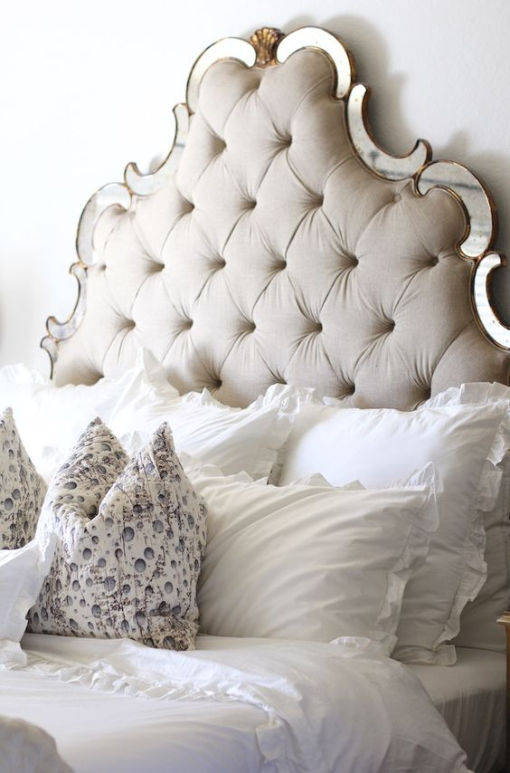 mirror framed vignette tufted headboard