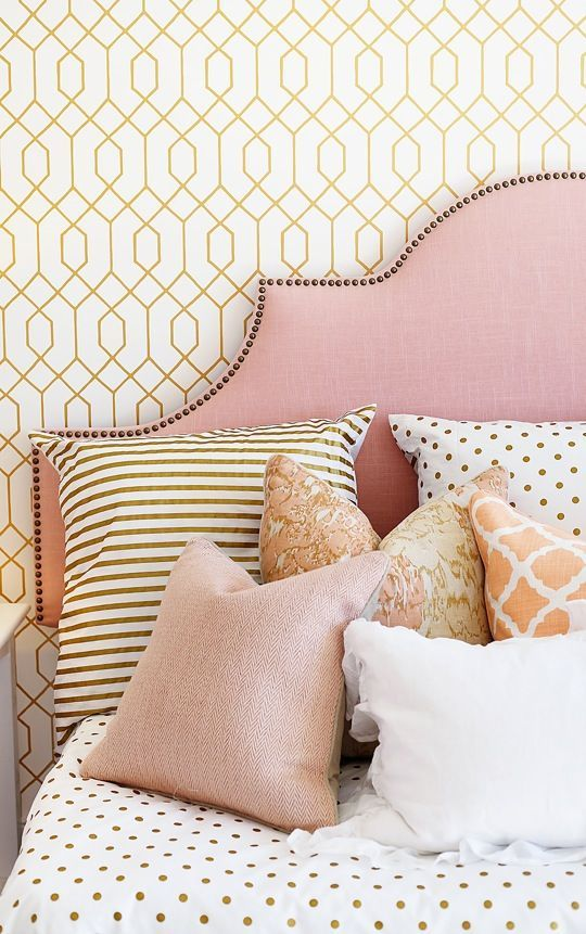 pink nail trim upholstered headboard
