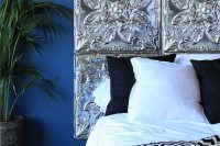 13 pressed tin tiles headboard
