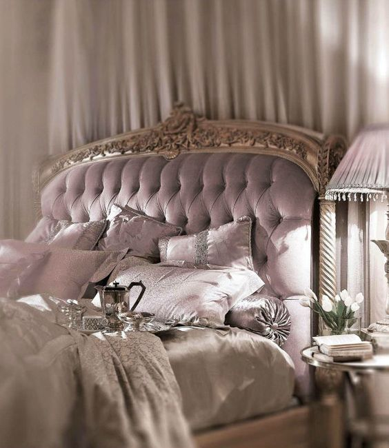 wooden frame lavender tufted headboard
