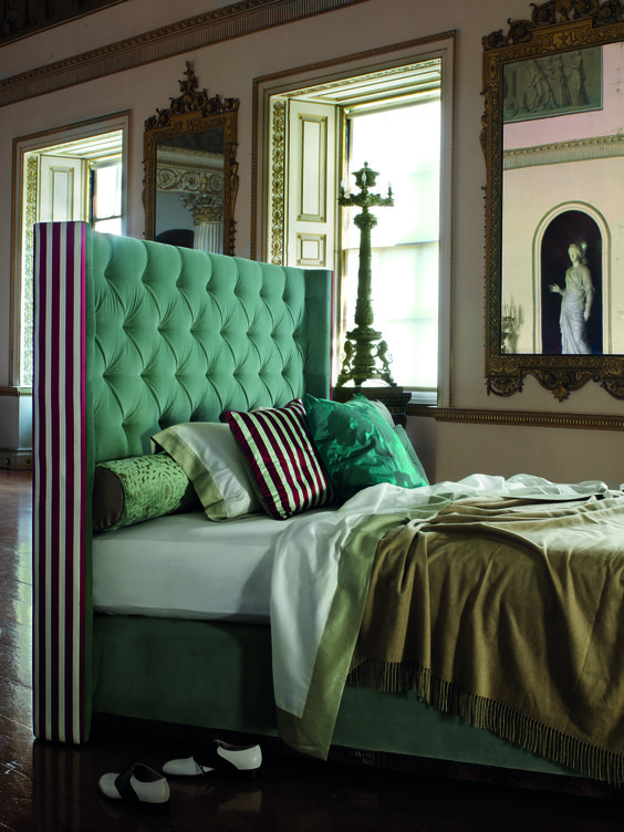 grass green wingback tufted headboard