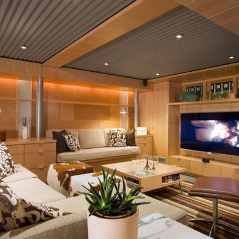 basement wood ceiling ideas. corrugated steel and wood ceiling 36 Practical And Stylish Basement Ceiling D cor Ideas  Shelterness