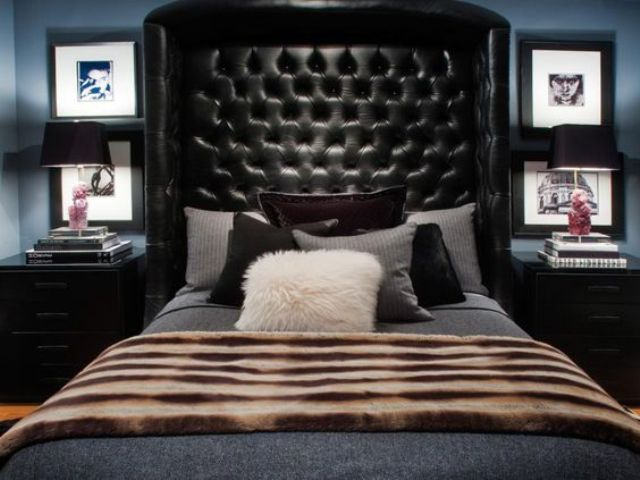 tall wingback leather tufted headboard
