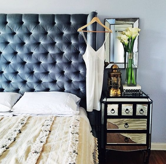 wingback grey tufted headboard