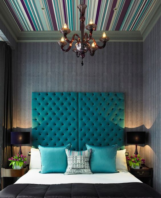 tall teal tufted headboard