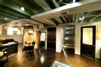 25 green exposed basement ceiling