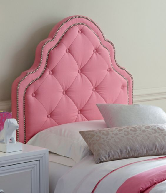 pink nail trim curvy tufted headboard