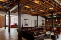 27 industrial wood and pipes ceiling