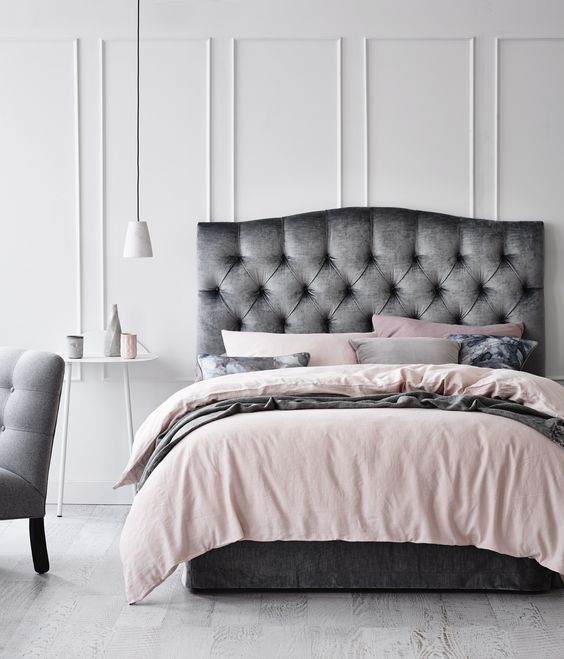 metallic grey curvy tufted headboard