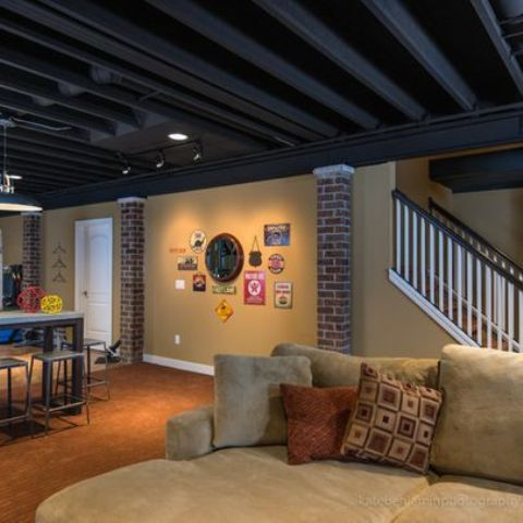Captivating Open Exposed Dark Basement Ceiling