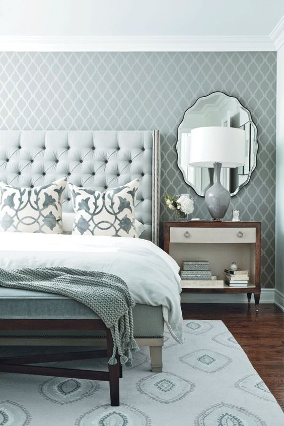 mint nailhead trim tufted headboard