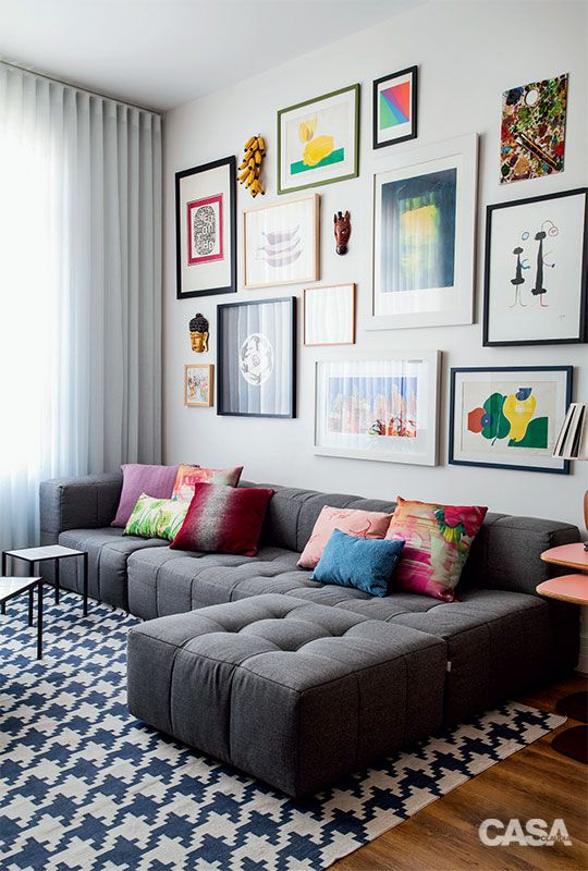 modern bright gallery wall