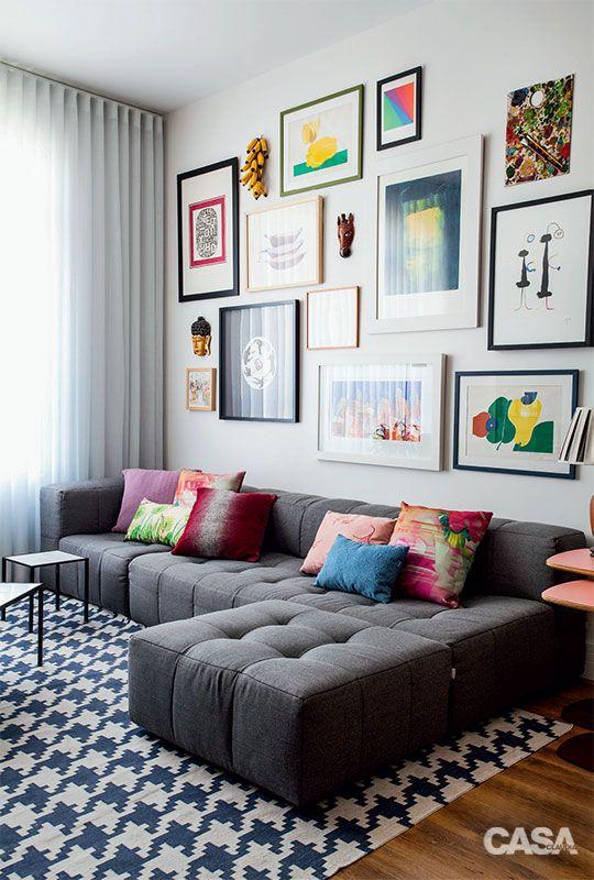 modern bright gallery wall