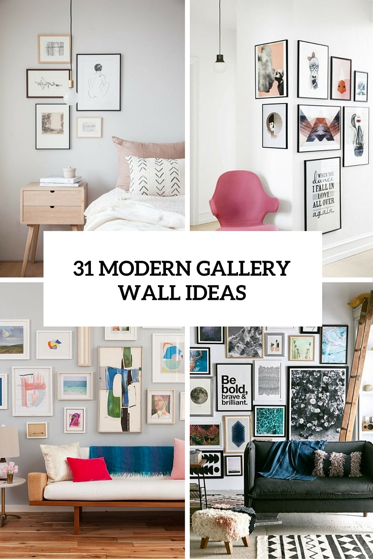 31 modern photo gallery wall ideas shelterness for Modern home decor photo gallery