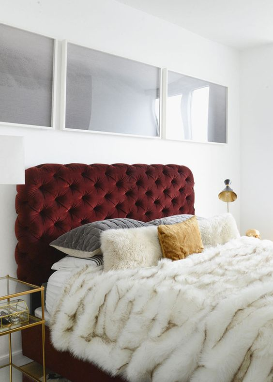 oxblood tufted headboard