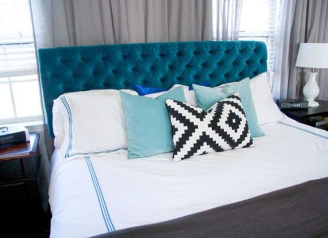 velvet diamond-tufted headboard