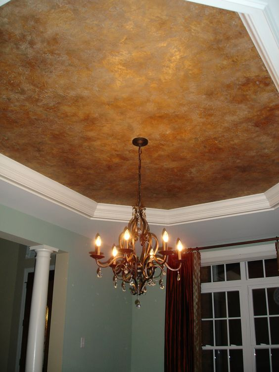 aged copper entryway ceiling