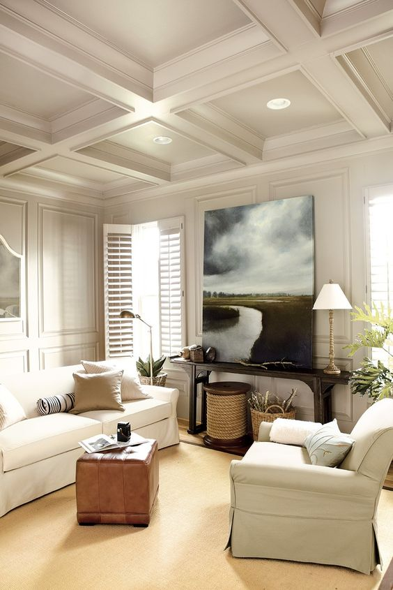 all white coffered ceiling for a living room
