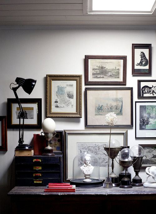 antique frame gallery wall idea