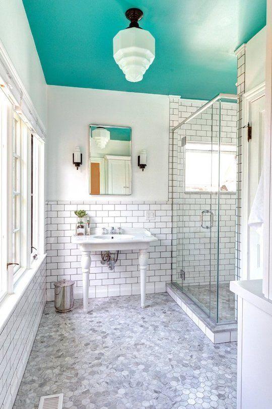 aqua bathroom ceiling