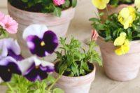 DIY shabby whitewashed pots