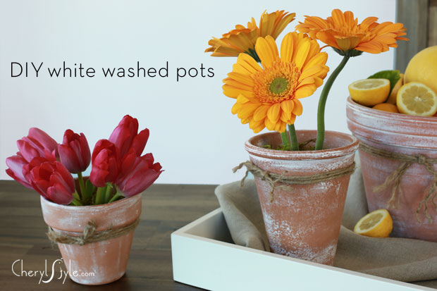DIY slightly whitewashed pots (via everydaydishes)