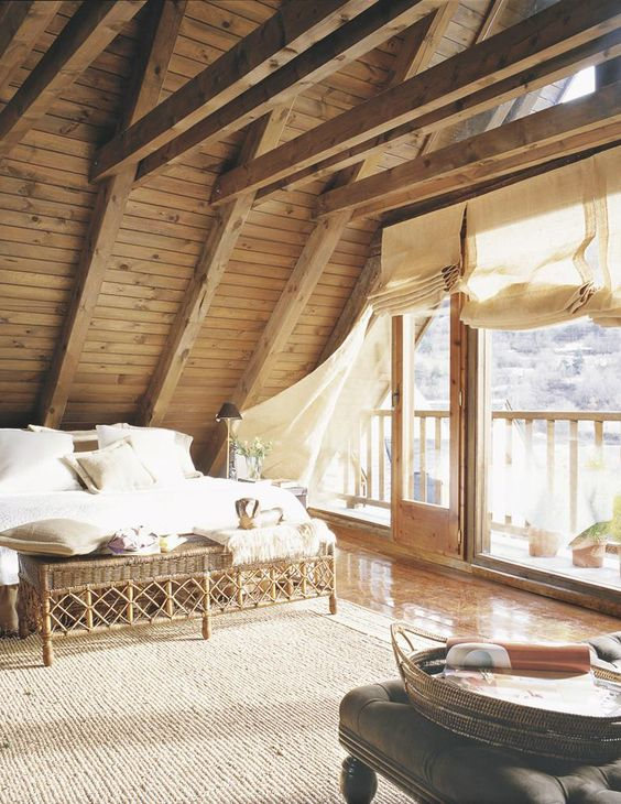 barn wooden ceiling with beams