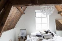 barn wooden ceiling with sculptural beams