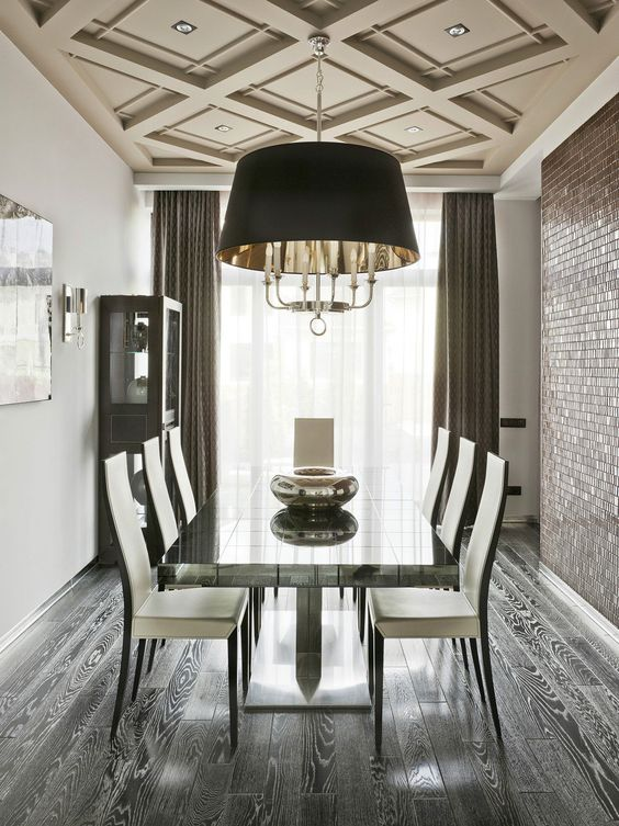 Dining Room Ceiling Ideas Part - 42: Beige Dining Room Coffered Ceiling